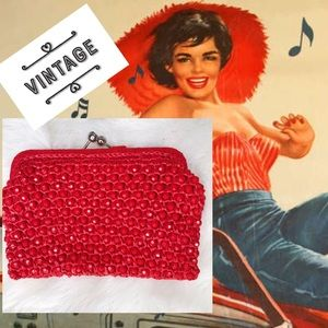 Vintage Red Acrylic Beaded Clutch Purse